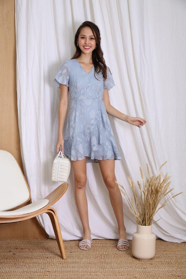 Ember Floral Jacquard Ruffles Dress in Powder Blue