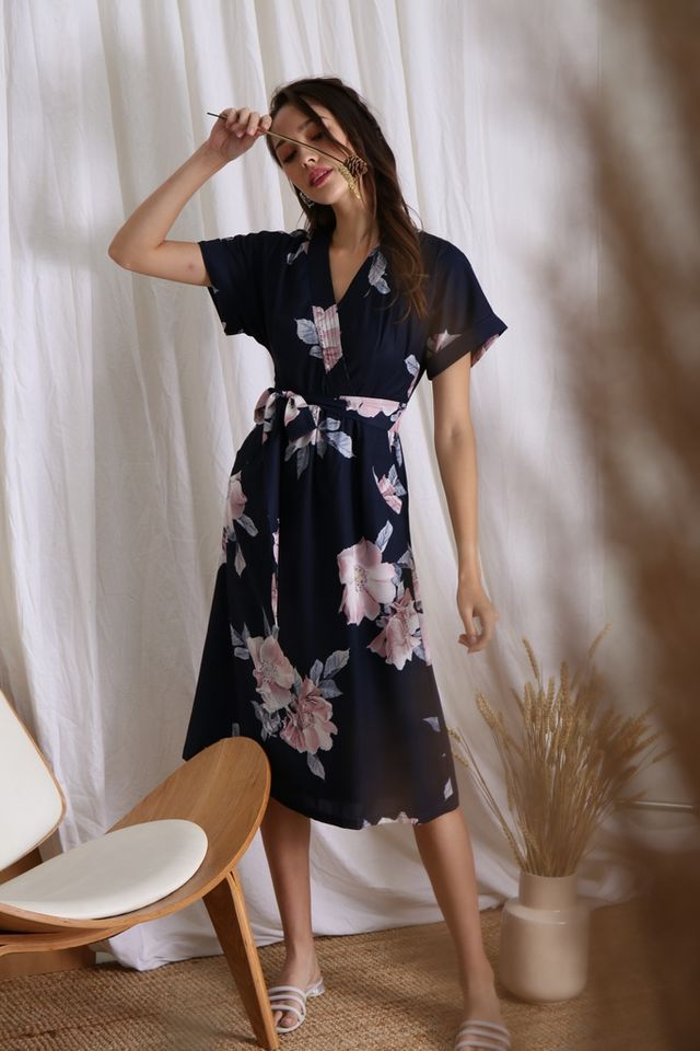 Rachel Floral Kimono Midi Dress in Navy