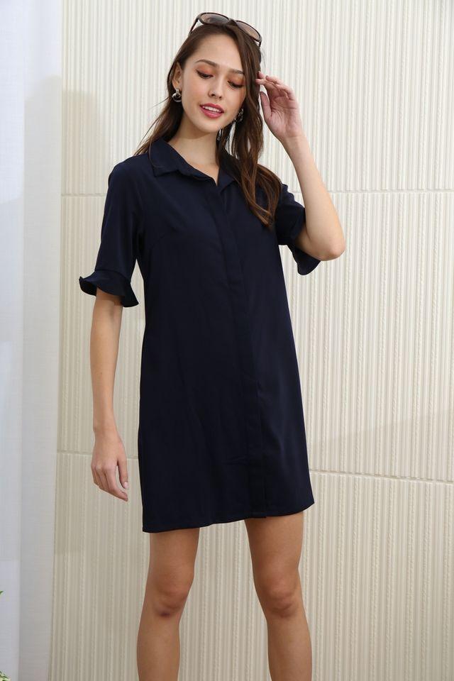 Elianna Flutter Sleeves Shirt Dress in Navy