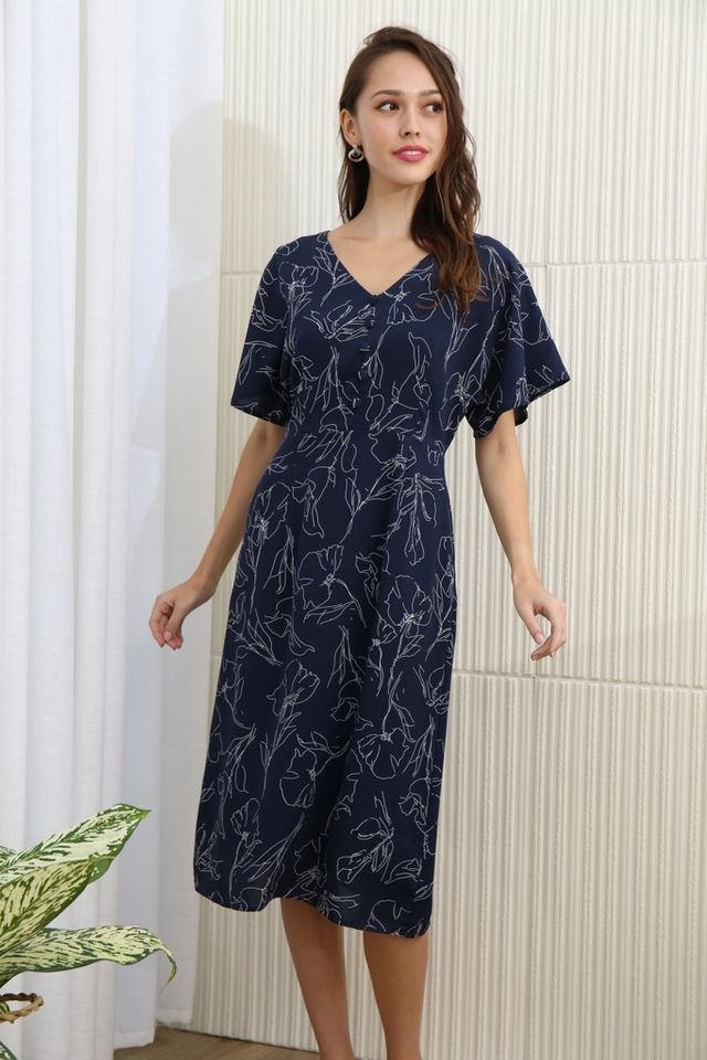Ann Floral Abstract Button Midi Dress in Navy