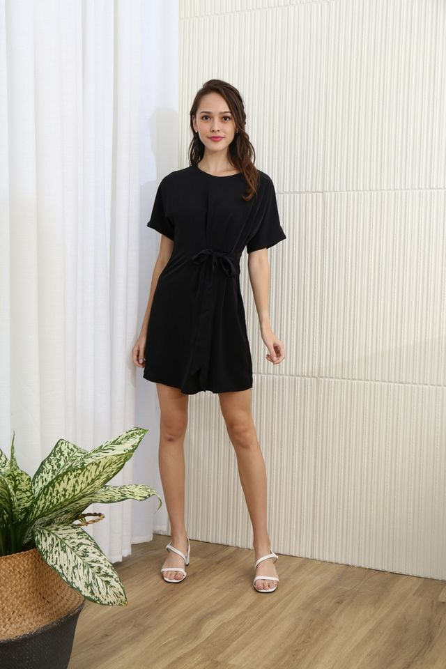 Aaliyah Side Ribbon Dress in Black
