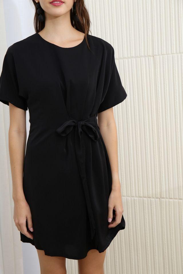 Aaliyah Side Ribbon Dress in Black