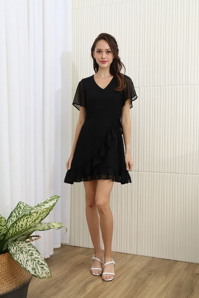 *BACKORDER* Ariana Swiss Dot Signature Ruffles Dress in Black
