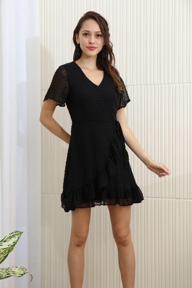 Ariana Swiss Dot Signature Ruffles Dress in Black