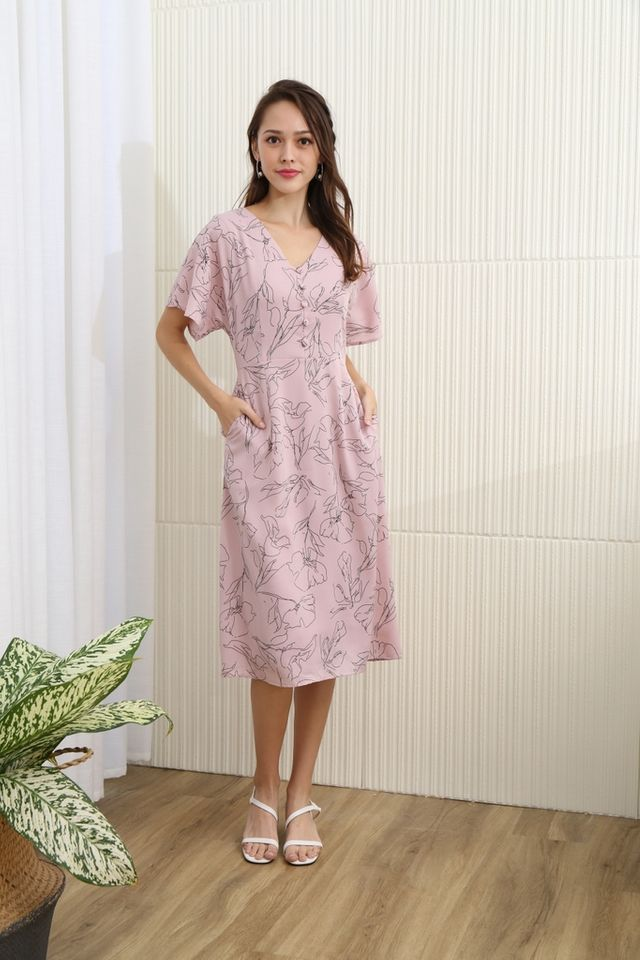 Ann Floral Abstract Button Midi Dress in Pink
