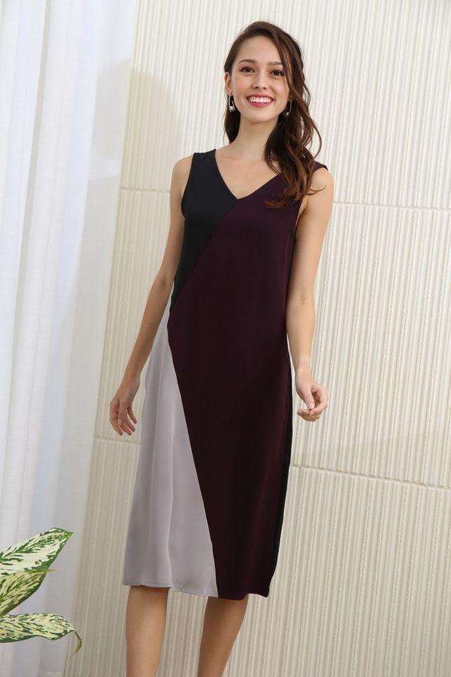 Larisa Colourblock Midi Dress in Deep Purple