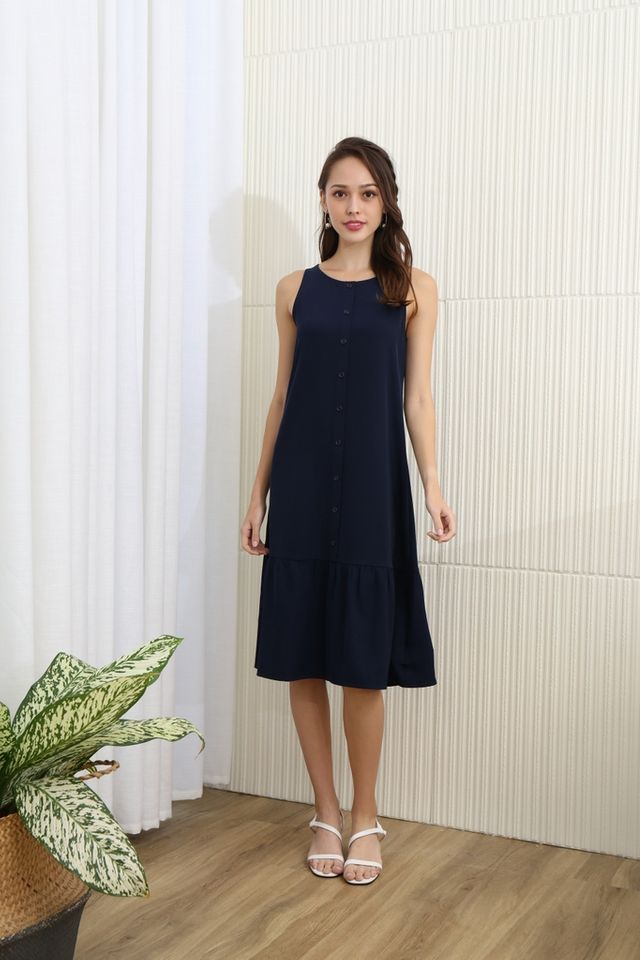 Priscilla Two Way Dropwaist Midi Dress in Navy
