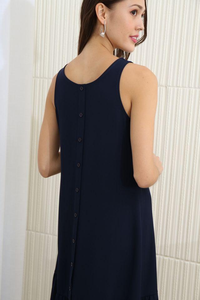 Priscilla Two Way Dropwaist Midi Dress in Navy