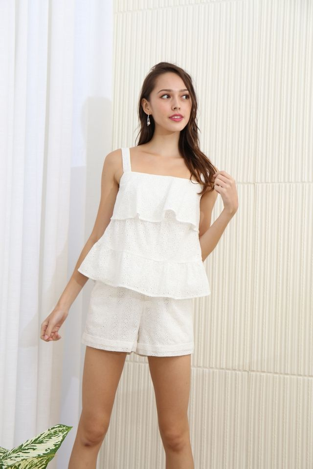 Luella Eyelet Ruffles Tiered Hem Top in White