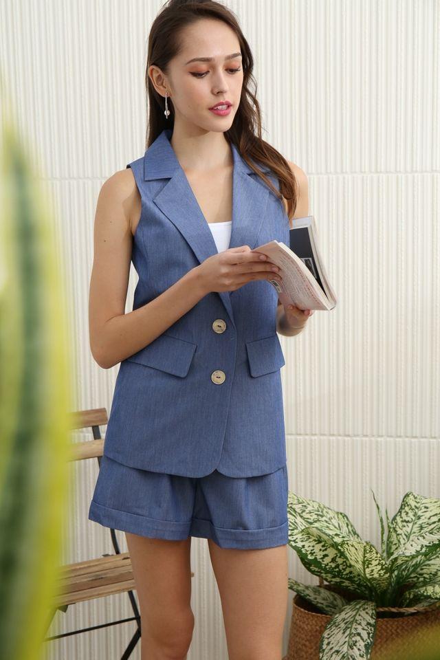 Annabella Button Vest in Denim Blue