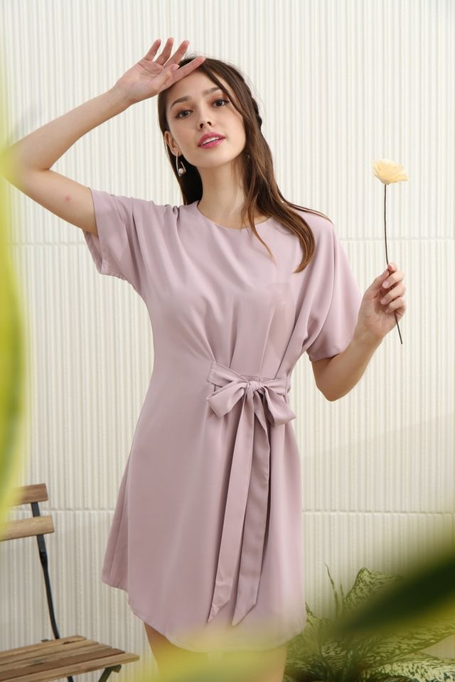 Aaliyah Side Ribbon Dress in Pink