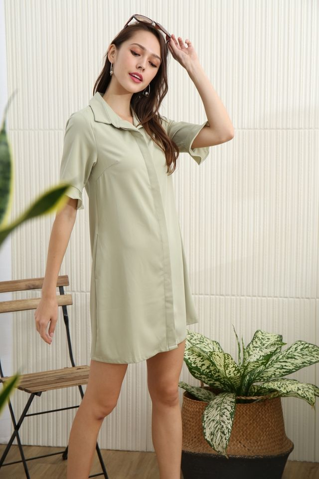 Elianna Flutter Sleeves Shirt Dress in Sage