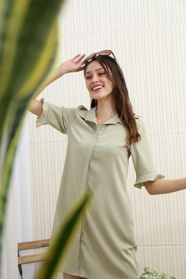 Elianna Flutter Sleeves Shirt Dress in Sage