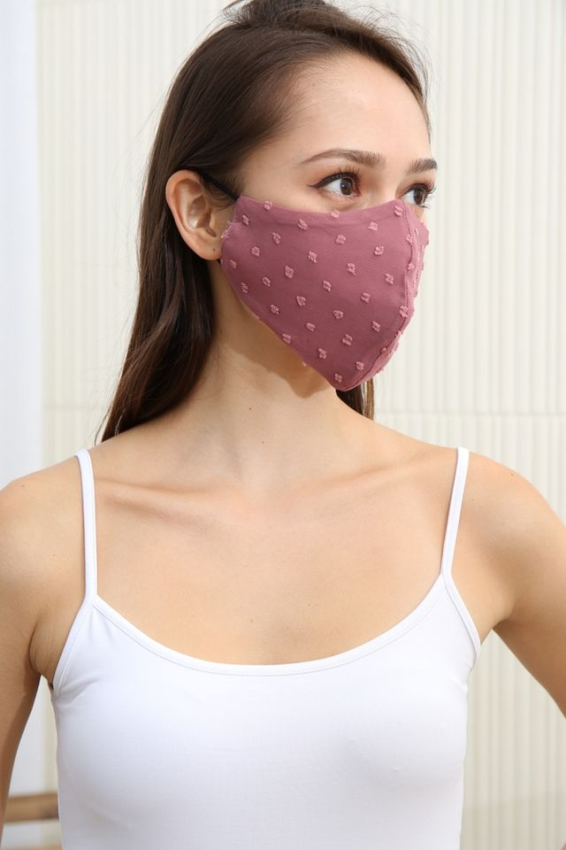 TSW SWISS DOT FABRIC FACE MASK IN ROSE