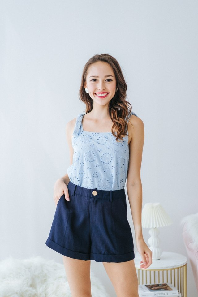 Nina Ribbon Floral Eyelet Top in Baby Blue