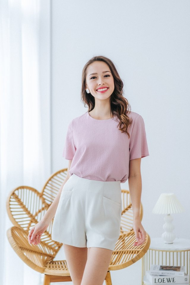 Alayna Textured Shift Top in Pink