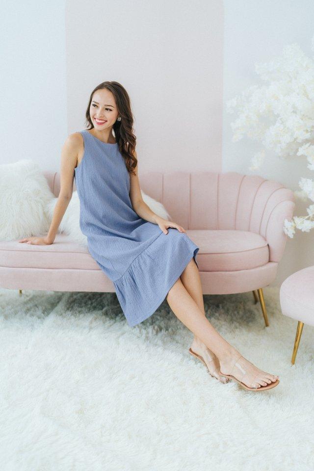 Cecelia Textured Dropwaist Midi Dress in Blue
