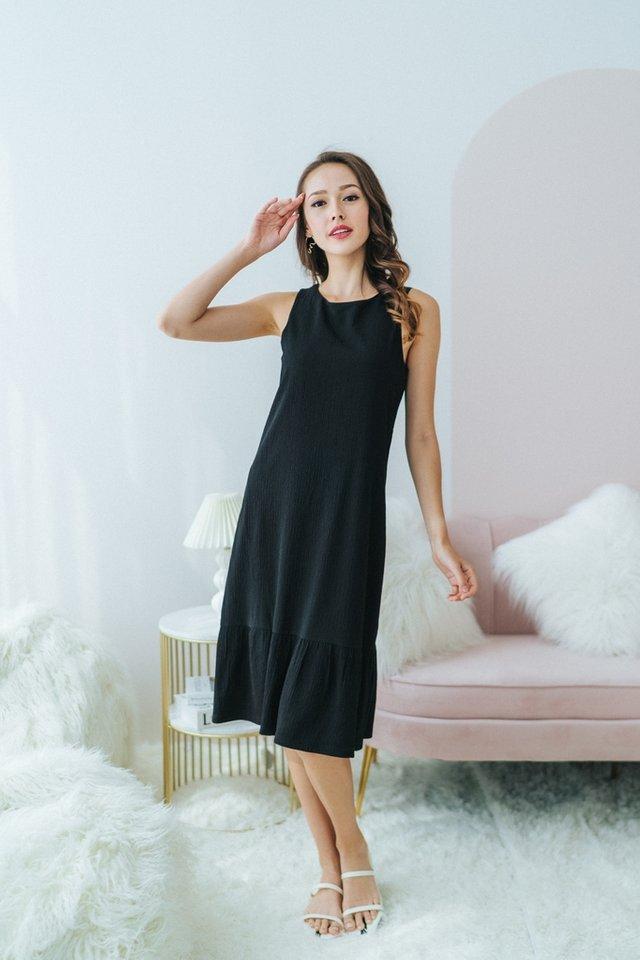 Cecelia Textured Dropwaist Midi Dress in Black