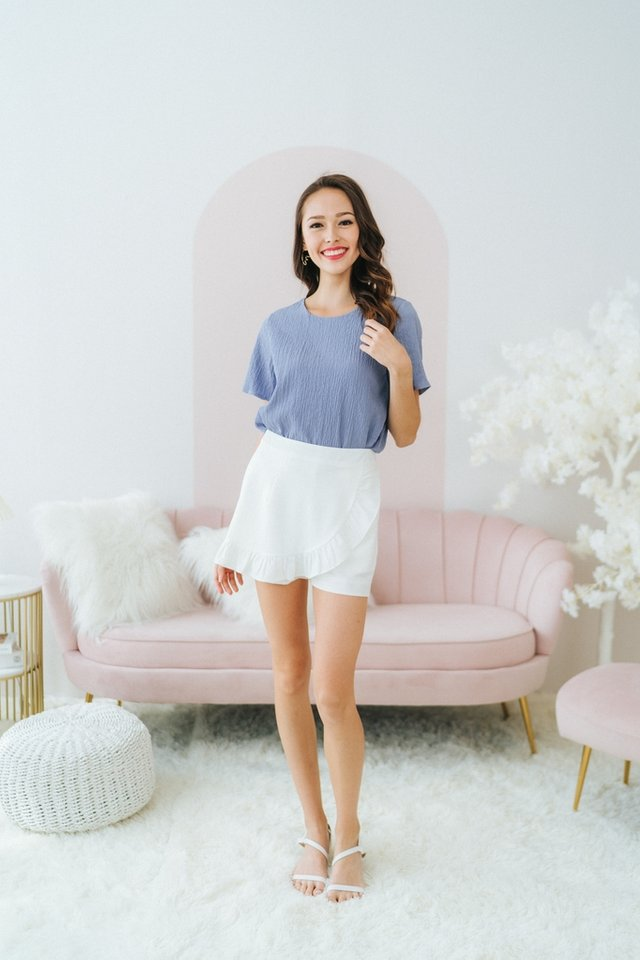 Alayna Textured Shift Top in Blue