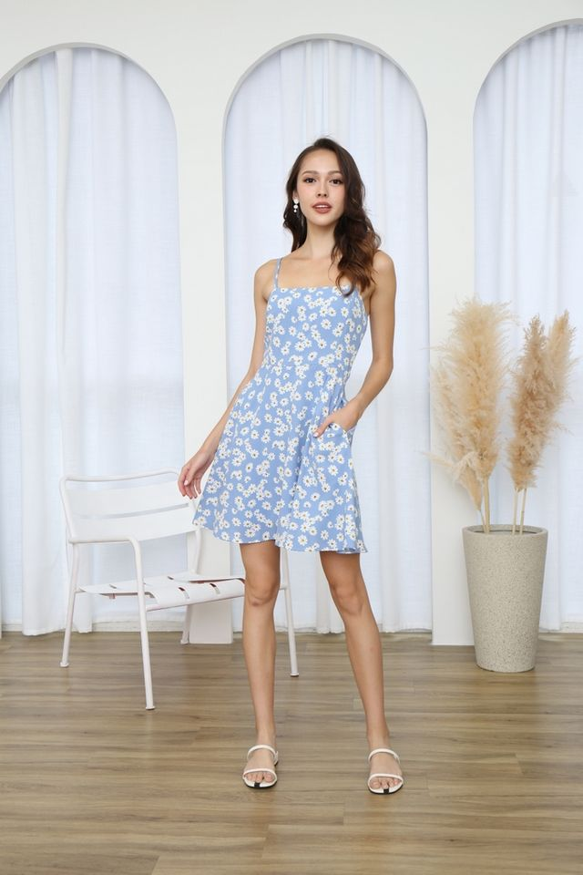 Vianca Daisy Camisole Dress in Blue