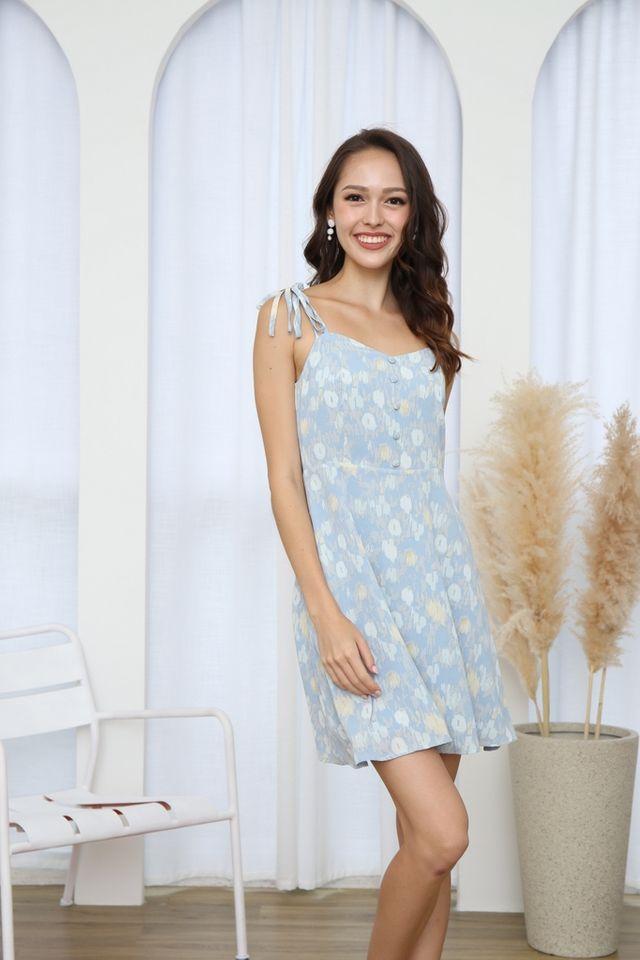 Raine Printed Button Ribbon Dress in Blue