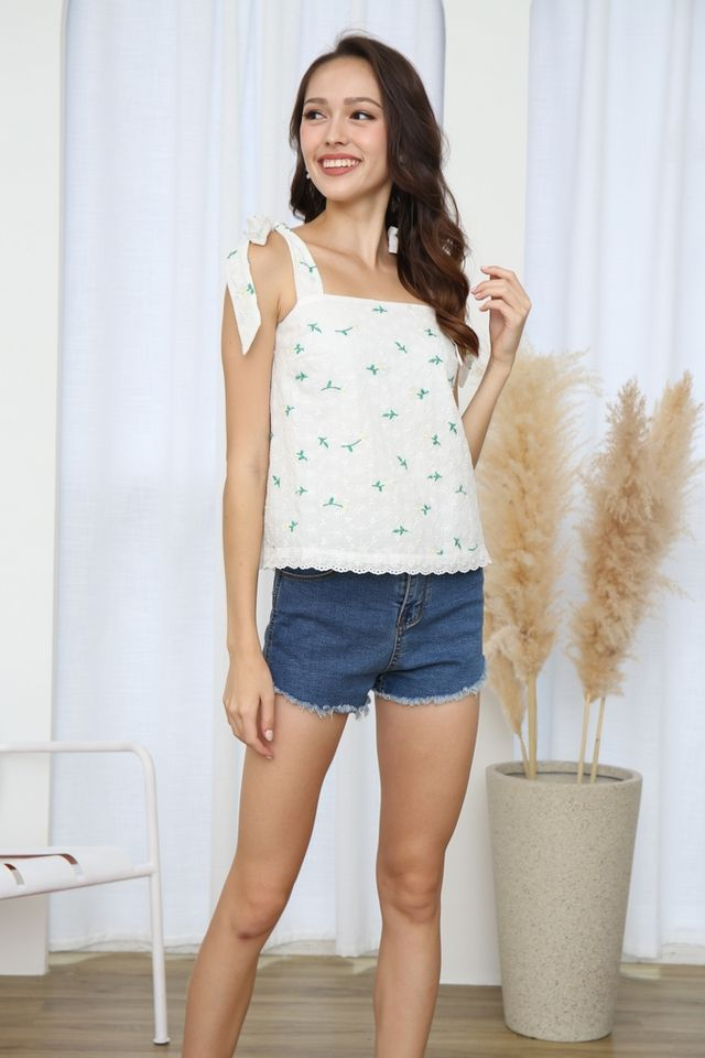Lydia Floral Broderie Ribbon Top in White