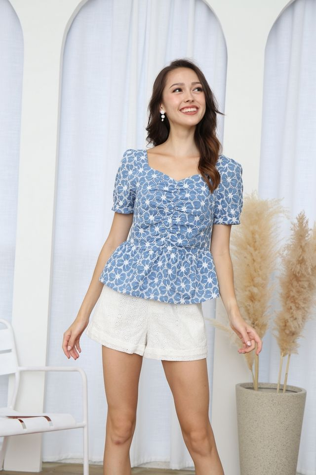 Marisa Floral Eyelet Ruched Top in Cornflower Blue