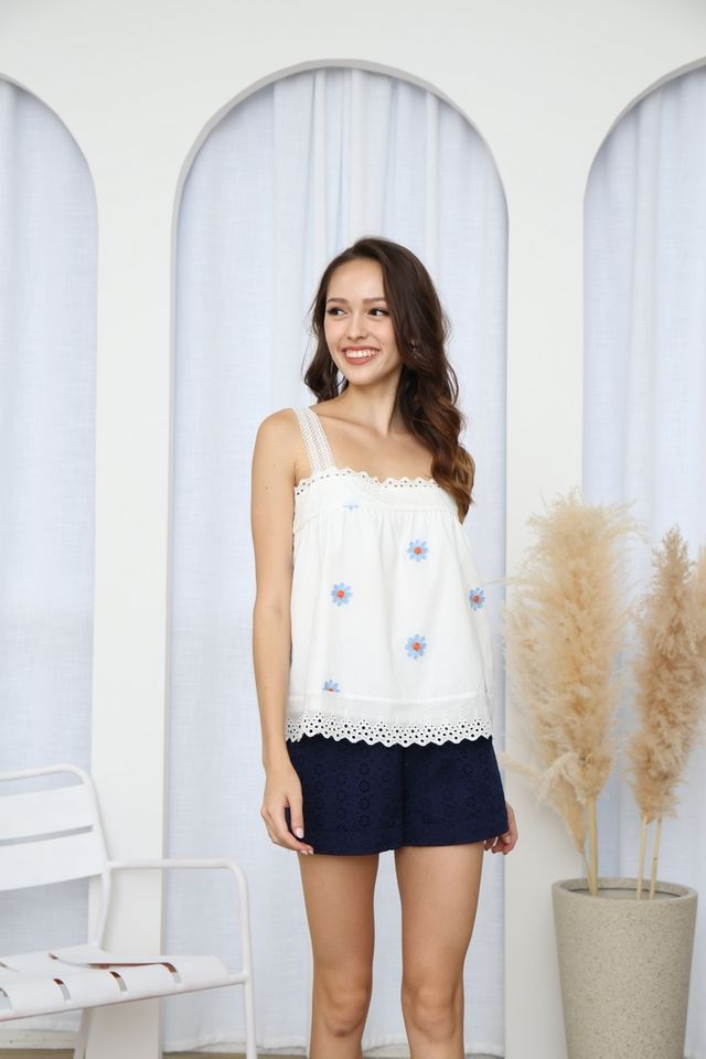 Annika Floral Broderie Babydoll Top in Blue