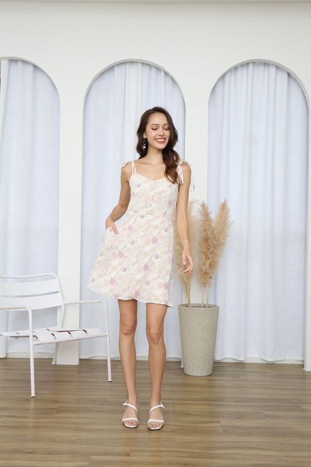 Raine Printed Button Ribbon Dress in Cream