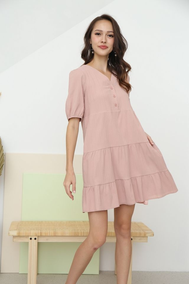 Cleo Button Babydoll Dress in Blush