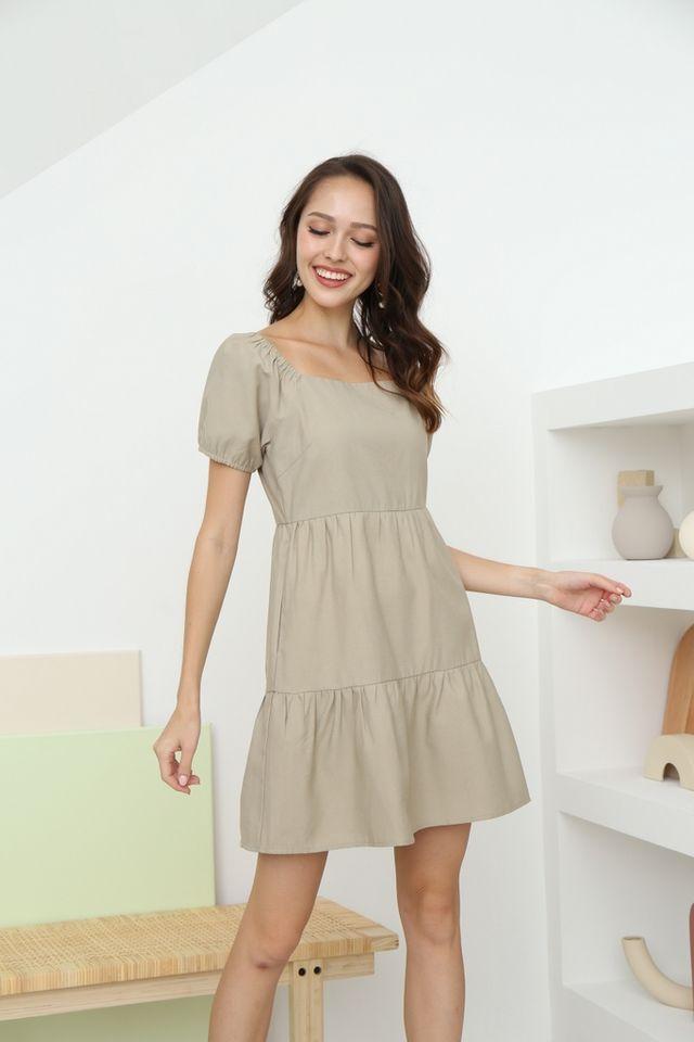 Scarlette 2-Way Babydoll Dress in Olive