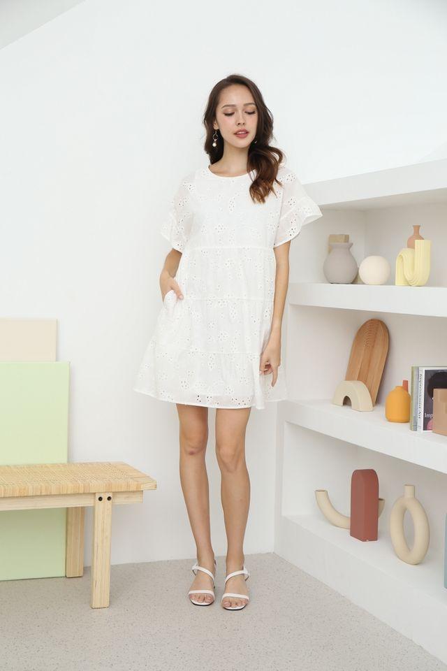 Kate Flutter Sleeves Babydoll Dress in White