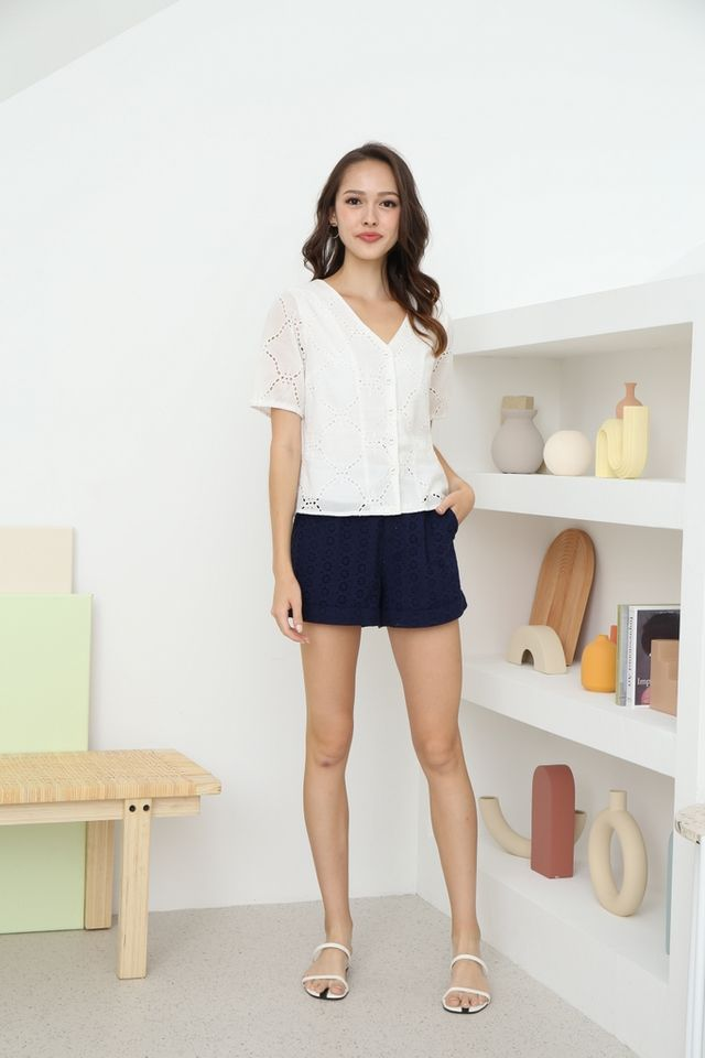 Helene Button Eyelet Top in White