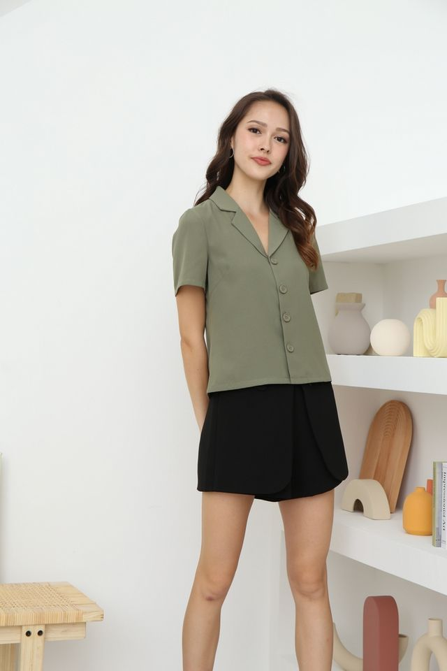 Ava Collared Button Top in Olive
