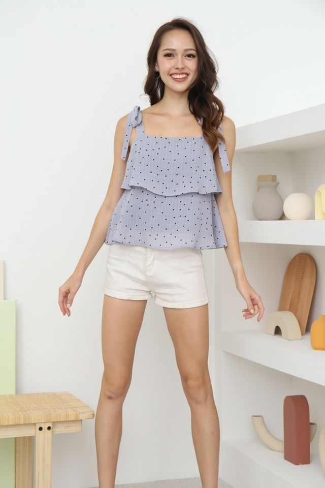 Emma Polka Dot Ribbon Top in Lilac Grey
