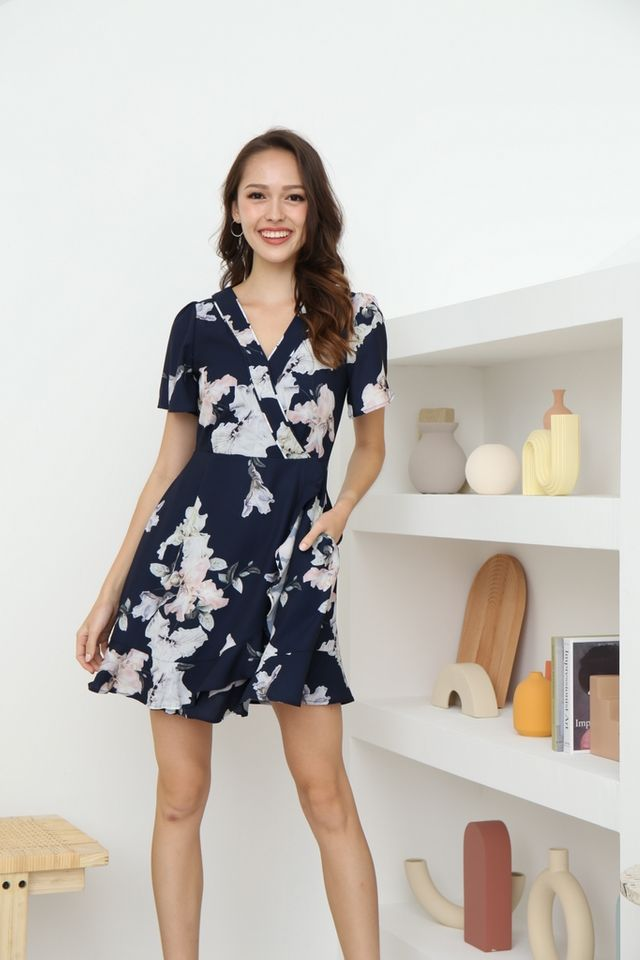 Elora Floral Faux Wrap Ruffles Dress in Navy
