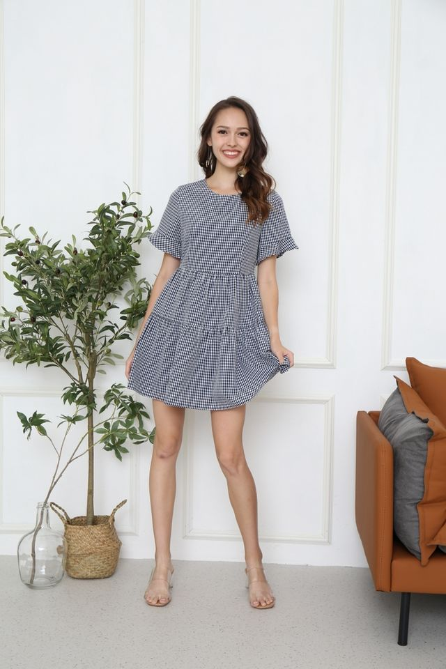 Meryl Checkered Babydoll Dress in Navy