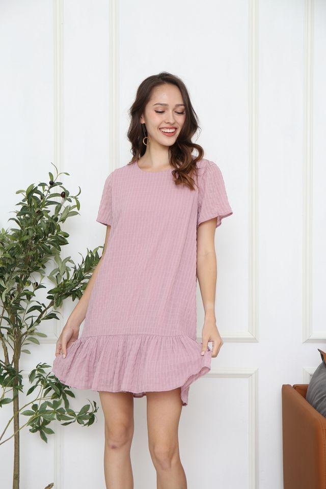 Blair Textured Dropwaist Dress in Pink