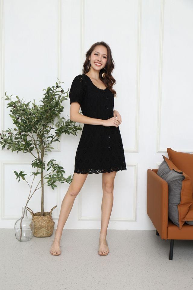 Freya Button Eyelet Dress in Black