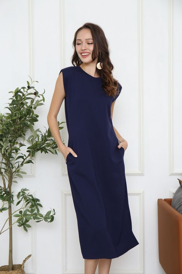 Valery Padded Sleeve Midi Dress in Navy