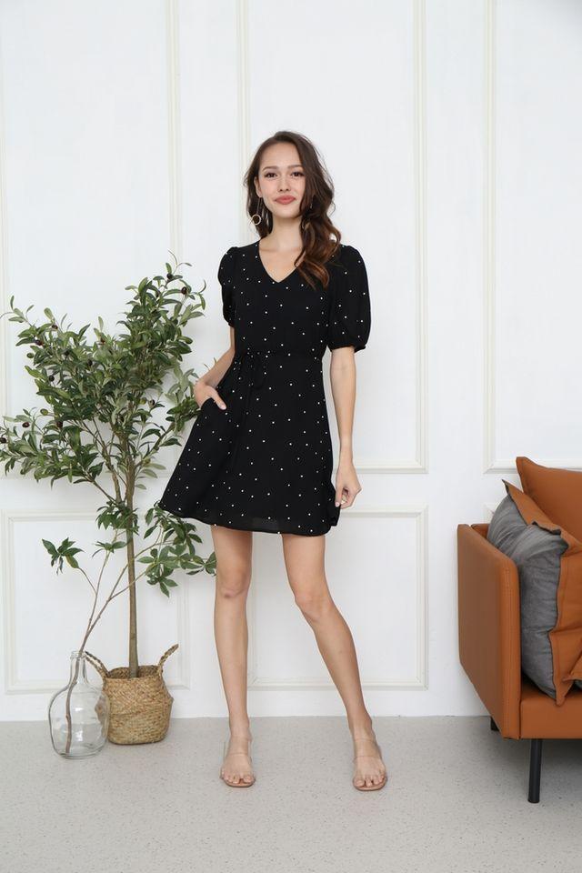 Edrea Polka Dot Puff Sleeve Dress in Black