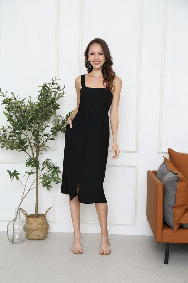 Latisha Button Midi Dress in Black
