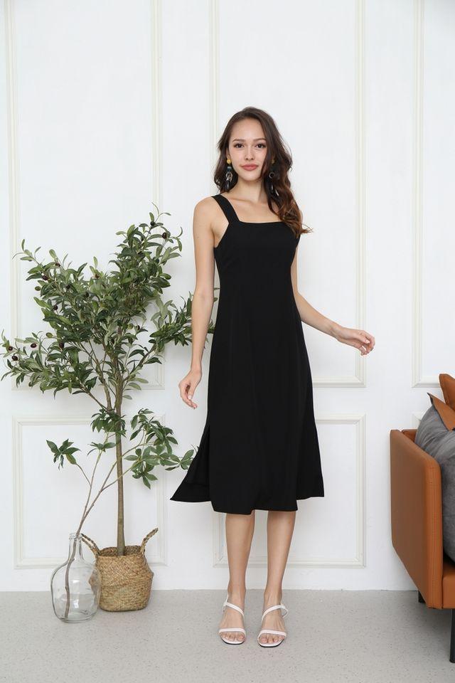 Ladonna Square Neck Midi Dress in Black
