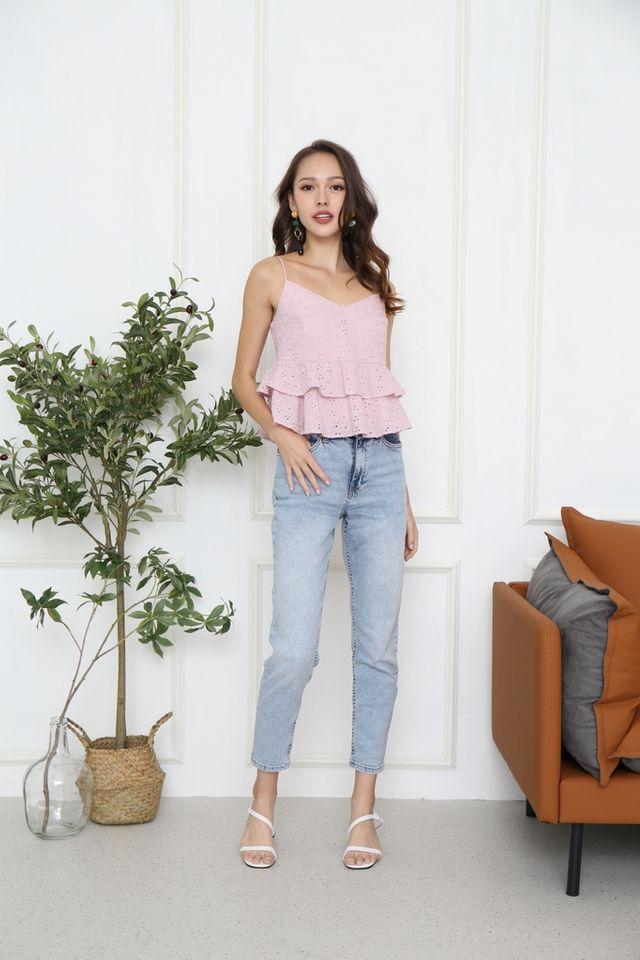 Kyra Eyelet Tiered Hem Top in Pink