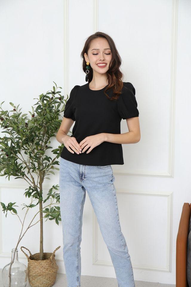 Violeta Puff Sleeved Top in Black