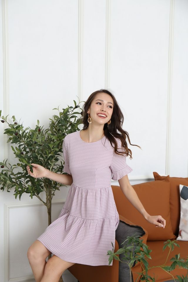 Meryl Checkered Babydoll Dress in Lilac