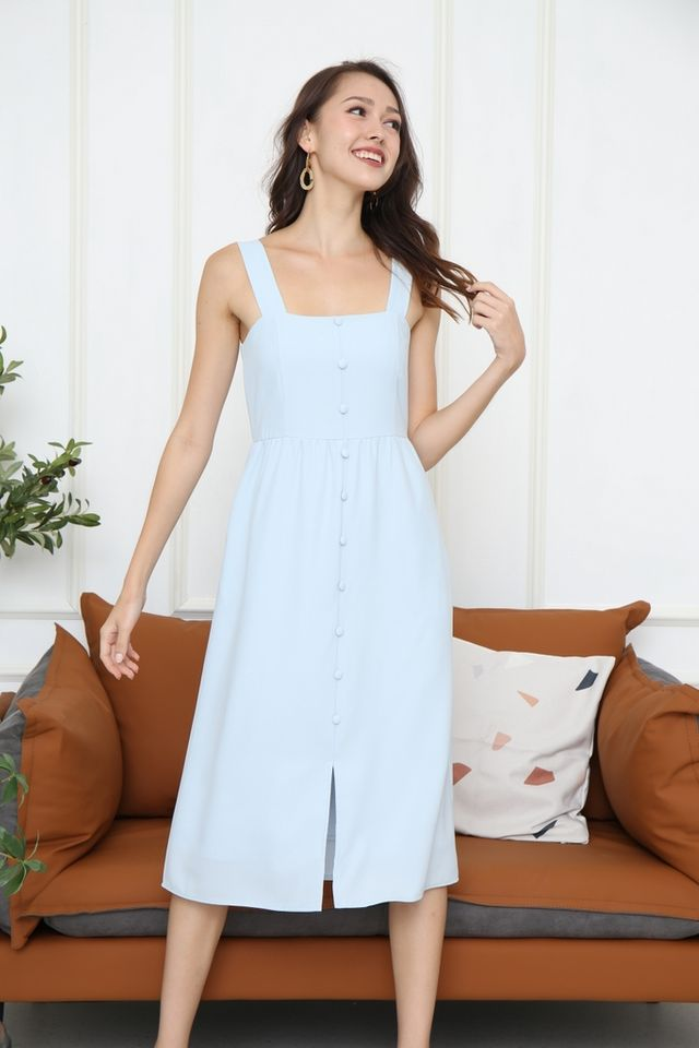 Latisha Button Midi Dress in Light Blue