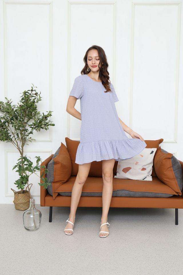 Blair Textured Dropwaist Dress in Lavender