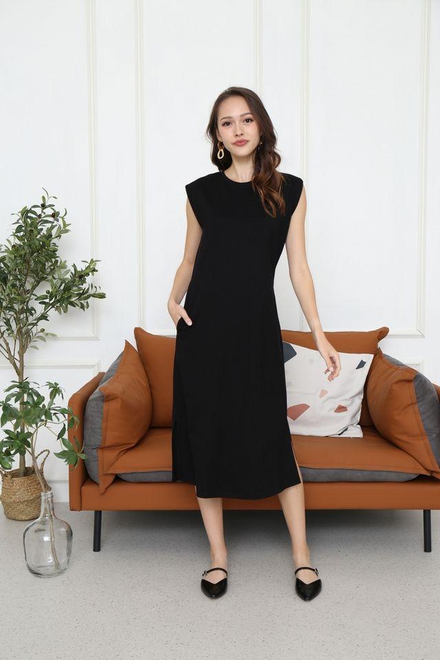 Valery Padded Sleeve Midi Dress in Black