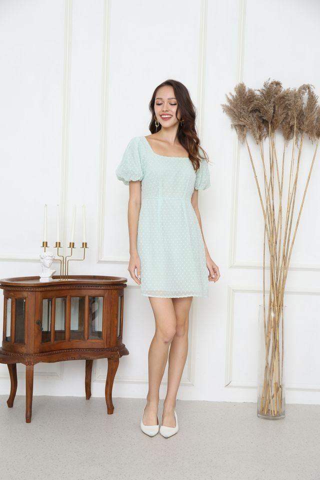 Tasha Swiss Dots Puff Sleeve Dress in Mint